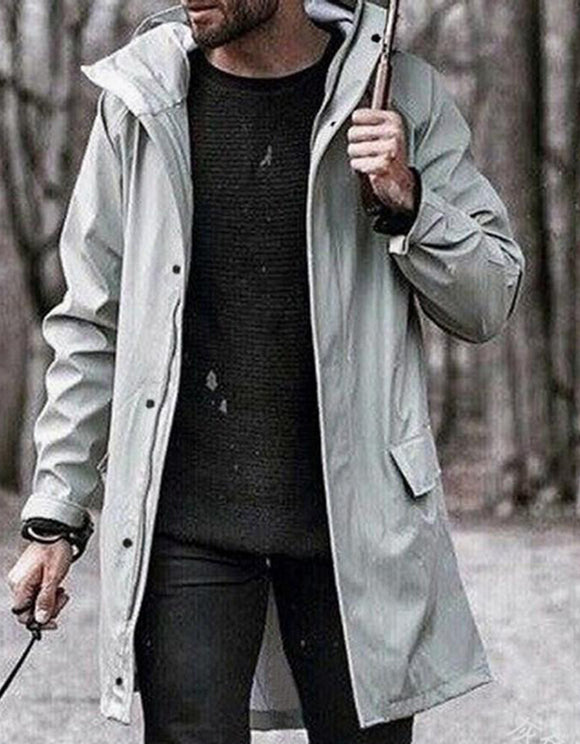 Mid-Length Plain European Fall Trench Coat
