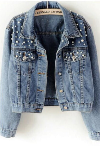 Pearl beaded short denim jacket long sleeve retro casual bomber denim jacket