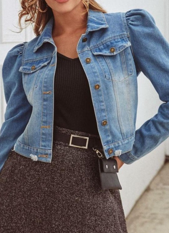 Puff sleeve denim jacket ladies lapel button frayed hole denim jacket pocket bomber jacket