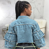 Trendy Short Denim Jacket Women Patchwork Ripped Jeans Coat Tassels Flare Sleeve Outerwear Overcoat Plus Size Autumn Winter Chic