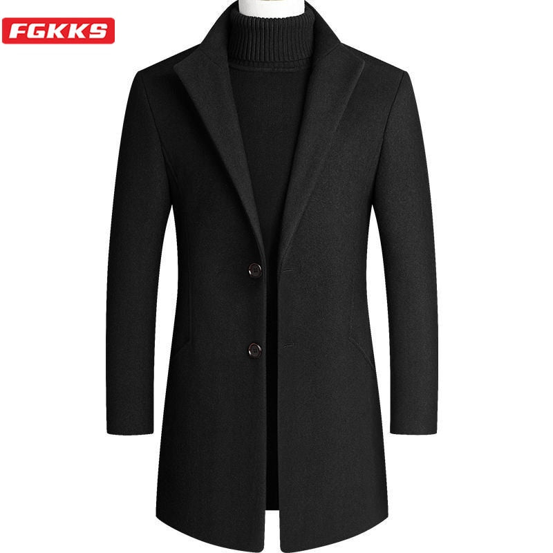 Men's Camel Wool Coat Autumn Winter Men New Slim Fit Warm Coats Solid Color Casual Mid-Length Wool Blends Mens Coats 4xl
