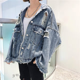 Woherb Autumn 2020 Harajuku Jeans Jacket Women Loose Vintage Ripped Frayed Denim Jackets Ladies Punk Streetwear Coats 20250