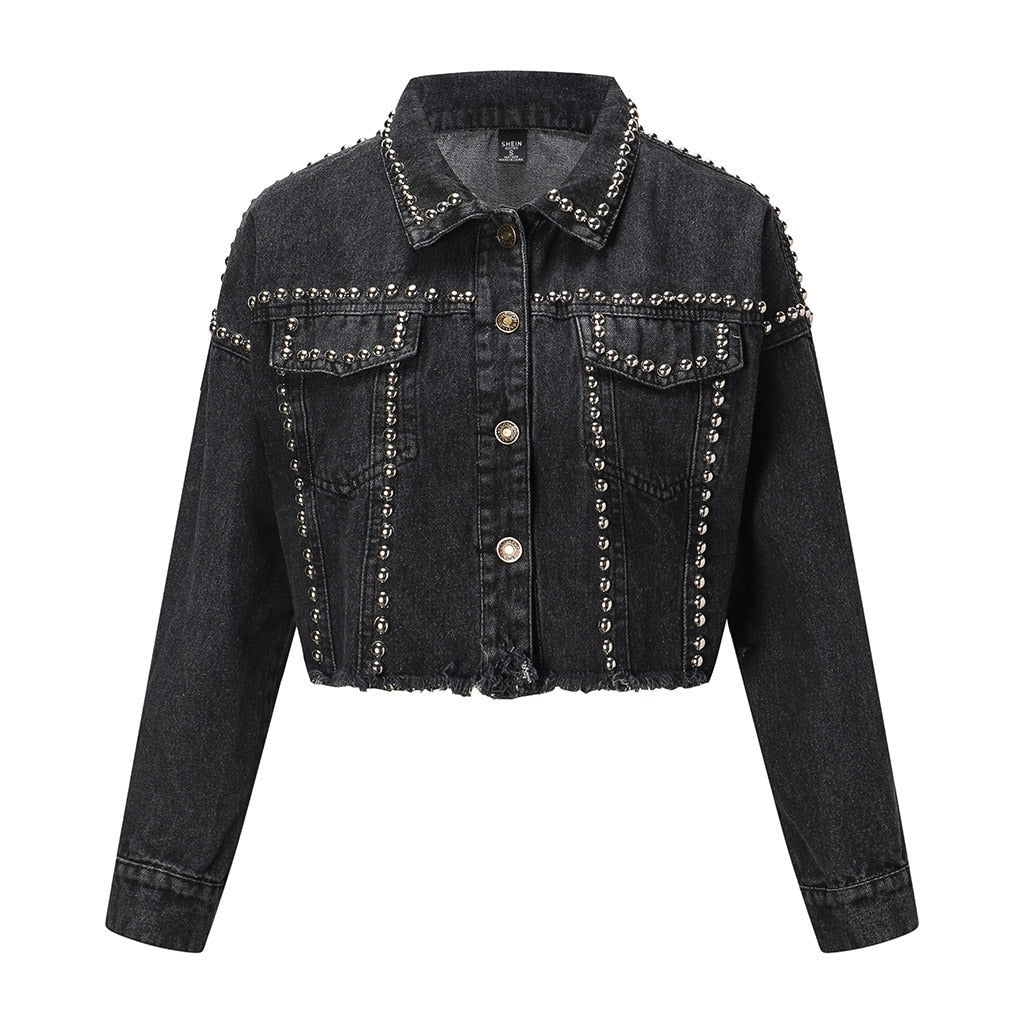 Jacket Women 2019 Autumn Hand Rivet Studded Denim Jacket Loose Outwear Female New Students Casual Short Jeans Coats#g4
