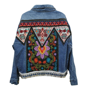 Jacket Women's Spring Boho Denim for Women Floral Appliques Embroidery Vintage Coat Long Sleeve Outerwear Female Jacket Coatee