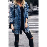 Women Cloth Women's Long Jacket Patch Denim Ripped New Outwear Hole Poket  Button 2019 New Jeans Bule Coat Casual