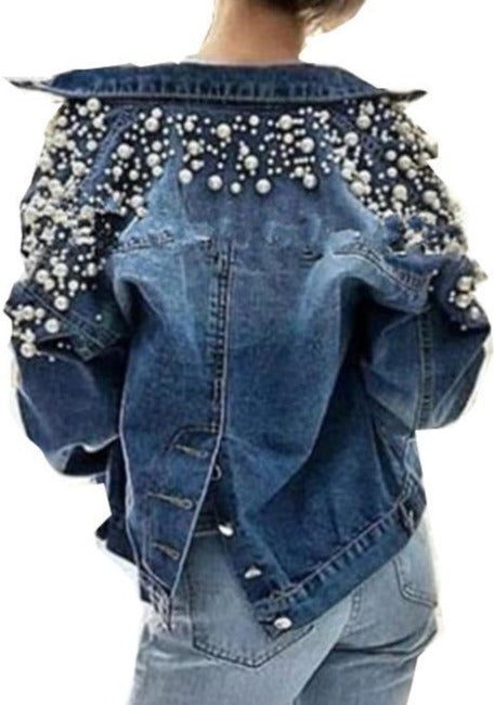 Pear flower decoration short female casual beaded all-match denim jacket