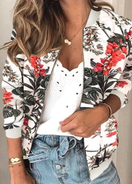 Fashion Flower Print Long Sleeve Women Bomber Jacket Casual Zipper Up Vintage Ladies Coat Tops Elegant Slim Basic Female Jackets
