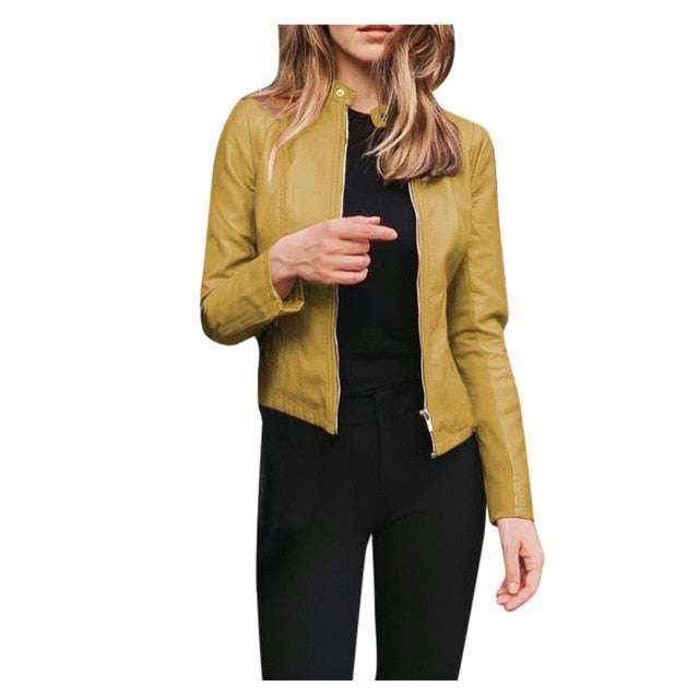 Fashion Women Ladies Autumn Solid Colors Leather Long Sleeve Slim Cool Motor Jacket Coat Zipper Windbreaker Jackets Outwear#g3