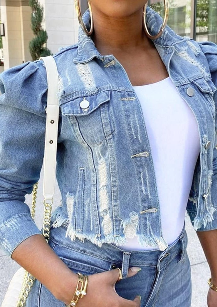 Ladies wear denim bomber jacket bubble sleeve retro casual jacket autumn fashion streetwear