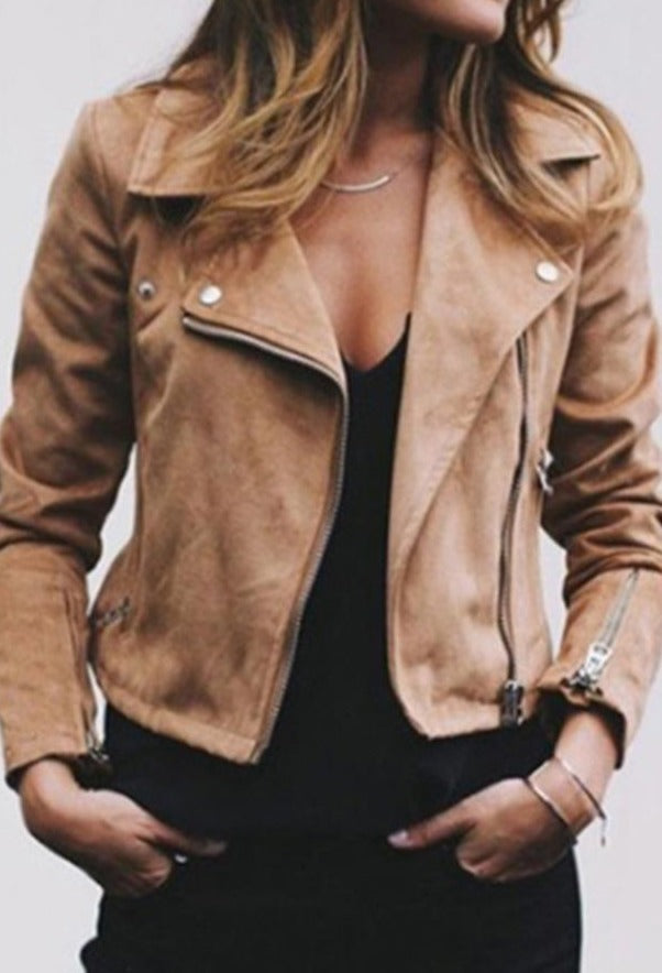 Plus Size Biker Women Solid Color Lapel Long Sleeve Zip Up Short Jacket Coat Ladies Streetwear Ladies Jacket Slim women Short Co