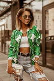 Women Bomber Jacket Fashion Flower Print Long Sleeve Casual Zipper Up Vintage Ladies Coat Tops Elegant Slim Basic Female Jackets