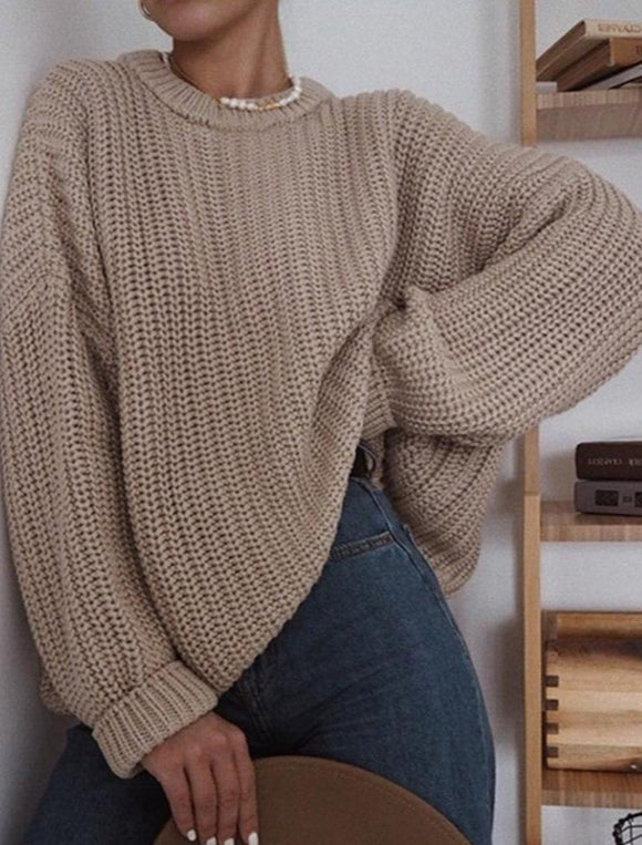 Muyogrt Women Oversized Sweater Solid Loose Knitted Sweaters Women Long Sleeve Pullover Female Autumn Jumper Female Knitwear