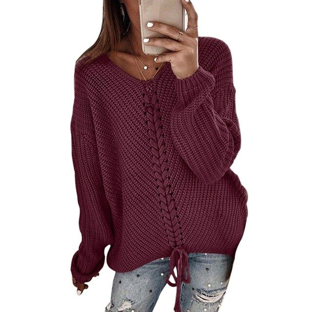 Muyogrt Sweater Women's Loose Panel Knitted Top Pullovers Autumn Winter Clothes Cross Bandage Knitwear Female Sweater Plus Size