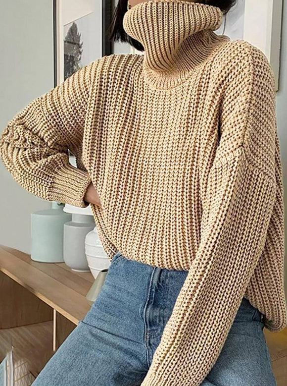 Muyogrt Women Knitted Turtleneck Sweater Long Oversized Sweaters Women Solid Cashmere Pullovers Autumn Winter Korean Knit Tops