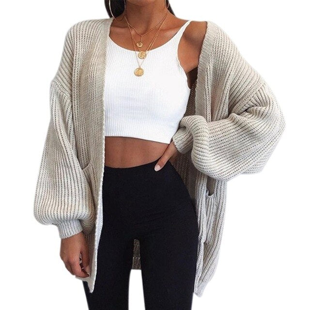 Muyogrt 2020 Chic Sweater Casual Batwing Sleeve Knitwear Cardigan Women Large Knitted Sweater Cardigan Jumper Coat
