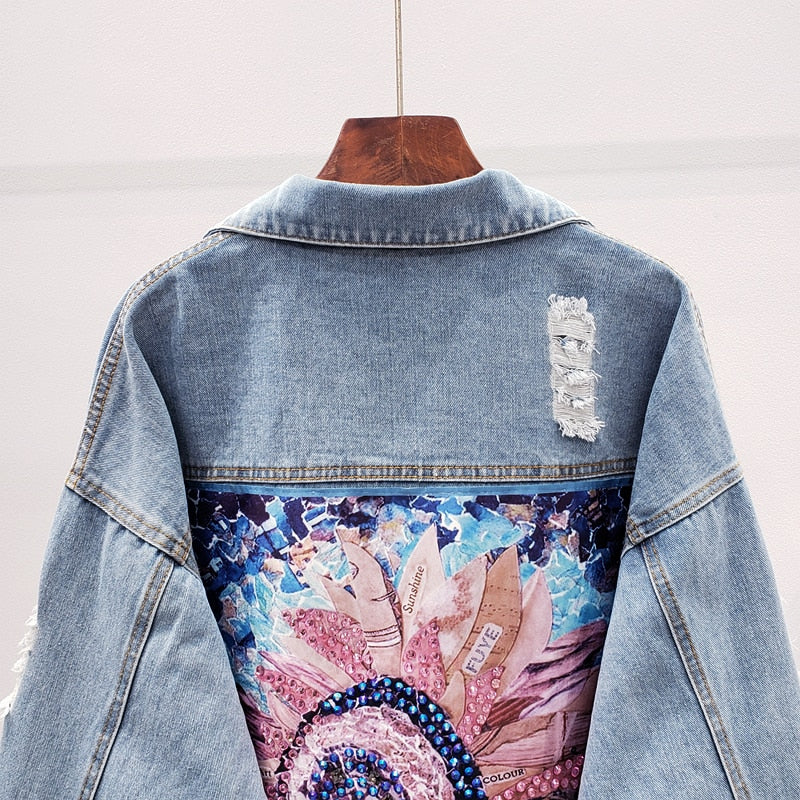 Women Denim Jacket feminine Spring Autumn Boho Sequin Floral Appliques Embroidery Coat Long Sleeve Outerwear Female Veste femme
