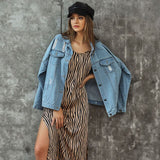 2020 Autumn Plus Size Ripped Hole Jean Jacket Light Blue Conventional Denim Jackets Long Sleeve Casual Street Jean Coat