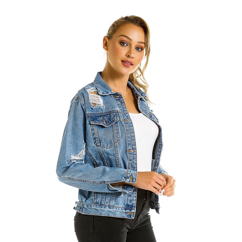 Voobuyla 2019 Causal Ripped Holes Bleach Denim Jacket Women Casual Long Sleeve Single Breast Slim Personality Vintage Basic Coat