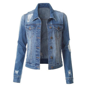 Jocoo Jolee Korean Denim Jackets Vintage Ripped Denim Jackets Streetwear Harajuku Jean Coats Women's Single Breasted Slim Jacket