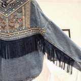 GBYXTY 2020 Autumn Hand-studded Rivet Embroidery Denim Jacket Women Streetwear Boyfriend Fringe Jean Jacket Black Coat ZA2080
