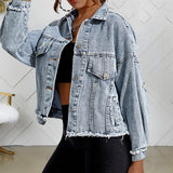 Streetwear Women Ripped Denim Jacket Light Blue Regular Pockets Autumn Basic Coats Fashion Female Casual Loose Jeans Jackets
