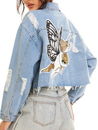 Ripped Hole Women's Denim Jacket Embroidery Butterfly Harajuku Ladies Jean Jacket Autumn Fashion Female Short Fringes Coats