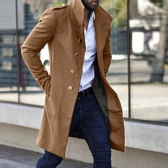 Fashion Men's Trench Coat Winter Warm Solid Long Wool Jacket Male Single Breasted Business Overcoat Casual Woolen Outerwear