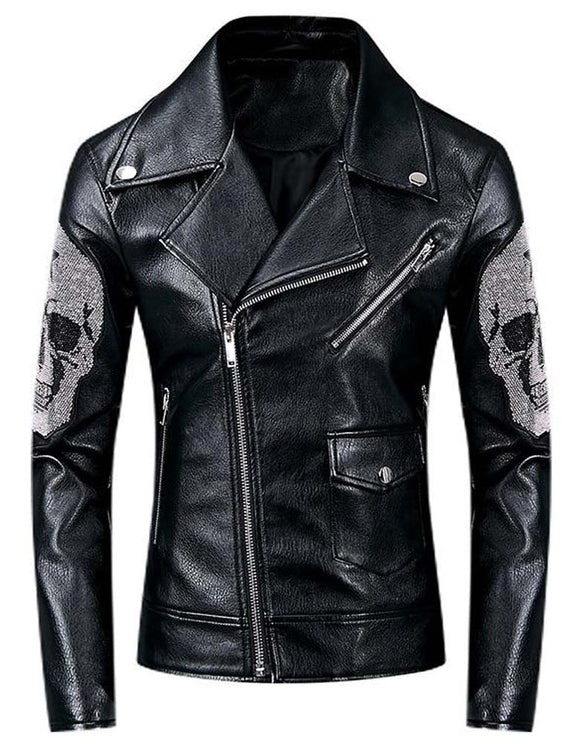 Men's Punk Skull Beaded Pleated Motorcycle Leather Jacket