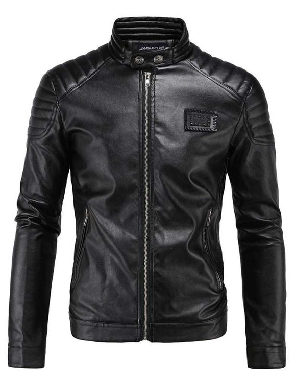 Men's super stylish motorcycle stand collar leather jacket