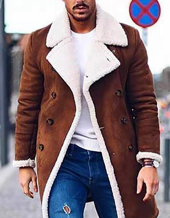 Men's winter lapel fleece lining button warm blazer
