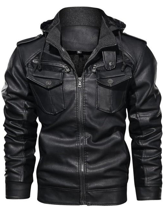Men's Leather Jackets Winter Fleece Thick Mens Hooded Motorcycle PU Coats