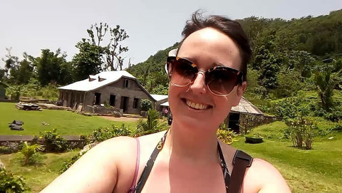 Hot Shot Chocolate owner Kelly arrives at the cacao farm in Dominica Island