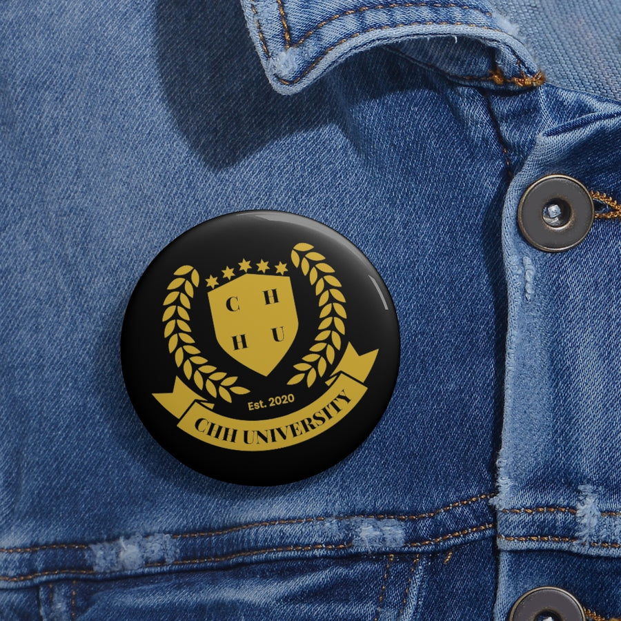 CHHU CREST Button (gold logo, black)