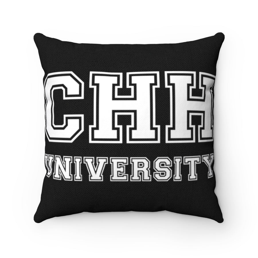 CHH UNIVERSITY Pillow (white logo, black)