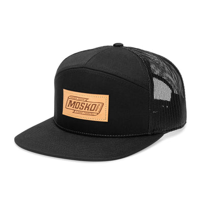 Mosko Moto Apparel Black Script 7 Panel Trucker
