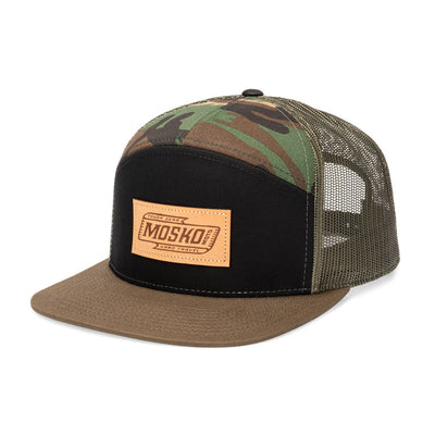 Mosko Moto Apparel Camo Script 7 Panel Trucker