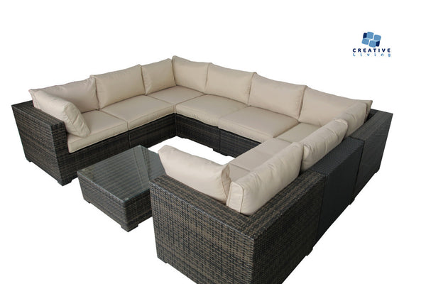 South Hampton 9pc Wicker Sectional Set W 4 Corners 4 Middles Coffee Table Creative Living