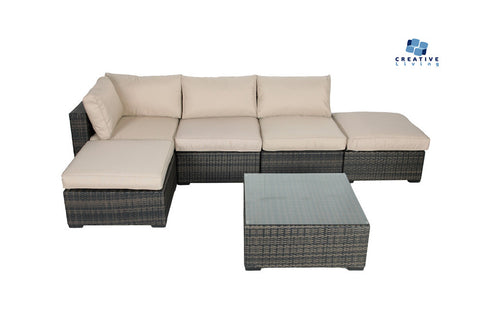 South Hampton 6pc Wicker Sectional Set W 1 Corners amp 2