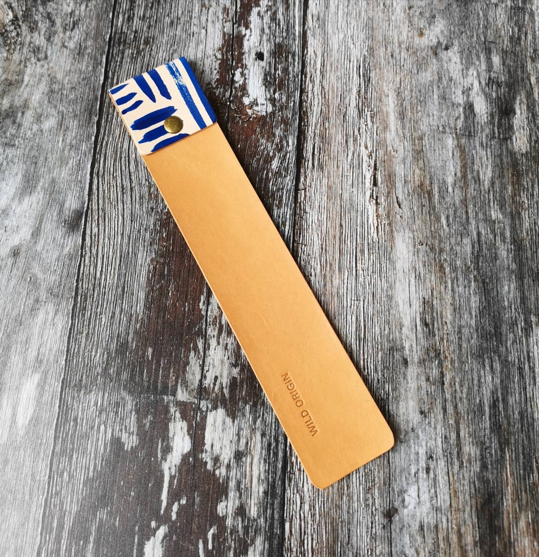 Hand painted Blue and Tan Leather Bookmark - Wild Origin