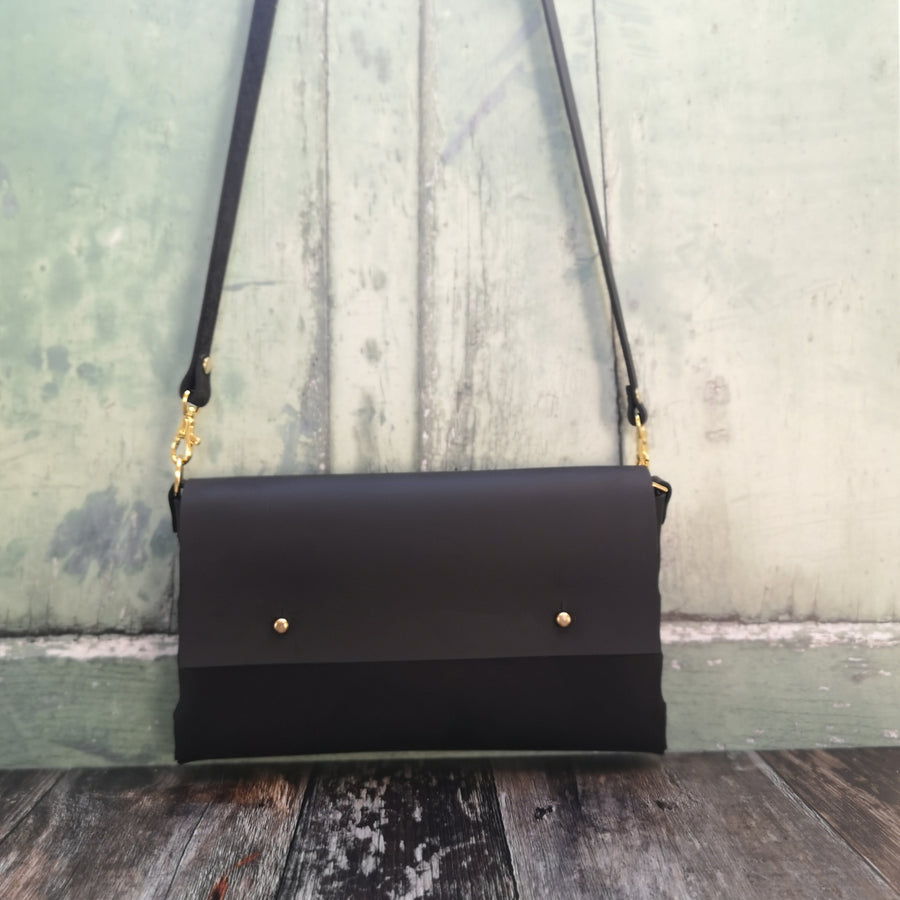 Larger Oiled Black Leather Crossbody Handbag - Wild Origin
