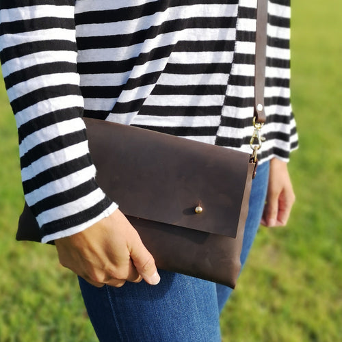 Larger Oiled Brown Leather Crossbody Handbag - Wild Origin