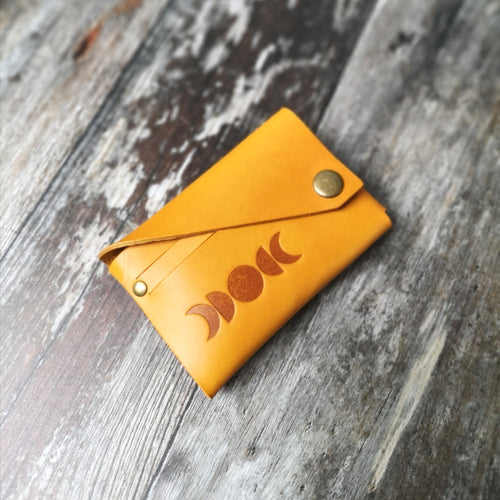 Mustard Lunar Leather Card Holder - Wild Origin