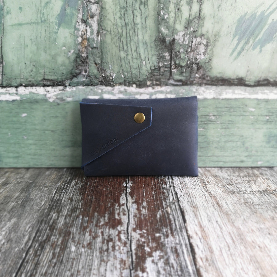 Dark Navy Oiled Leather Card Holder (WITH HIDDEN HEART OPTION)