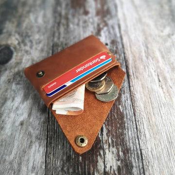 Tan Oiled Leather Card Holder (WITH HIDDEN HEART OPTION)