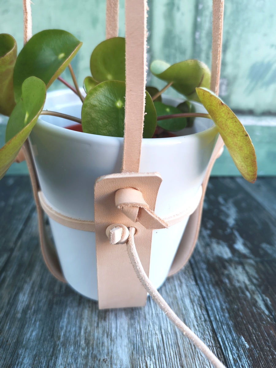 Leather Hanging Plant Holder ( For narrower or tapered styled plant pots, HANGER ONLY)