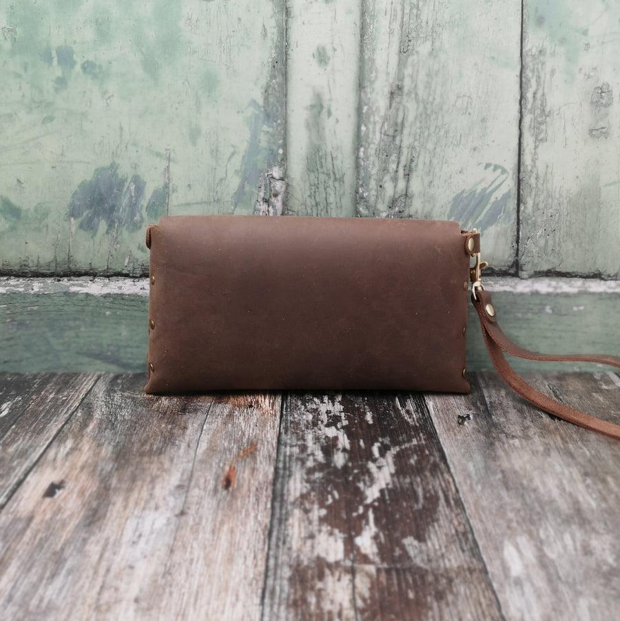 Oiled Brown Wristlet Bag