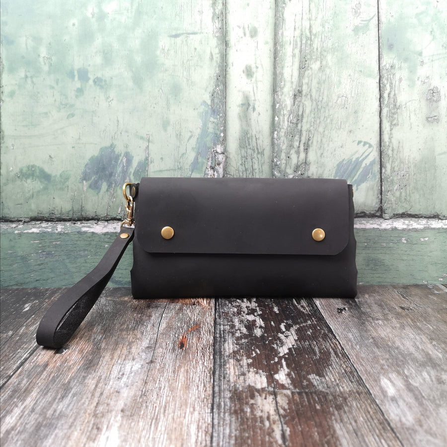 Black Oiled Wristlet Bag