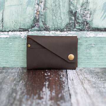 Brown Oiled Leather Card Holder - Wild Origin