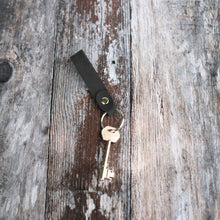 Load image into Gallery viewer, Oiled Black Leather Keyring - Wild Origin
