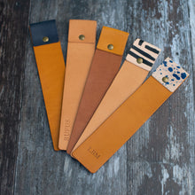 Load image into Gallery viewer, Hand painted Blue and Tan Leather Bookmark - Wild Origin
